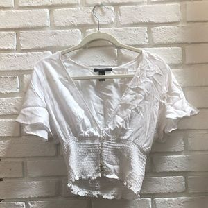 White crop top with buttons
